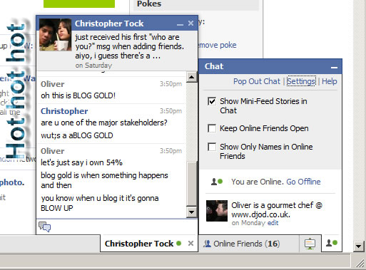 Facebook chat box in full effect