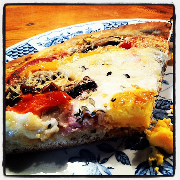 Egg in middle of pizza = fun food (Taken with instagram)