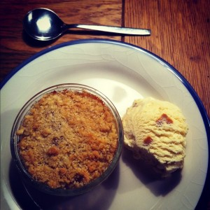Photo – Apple and rhubarb crumble