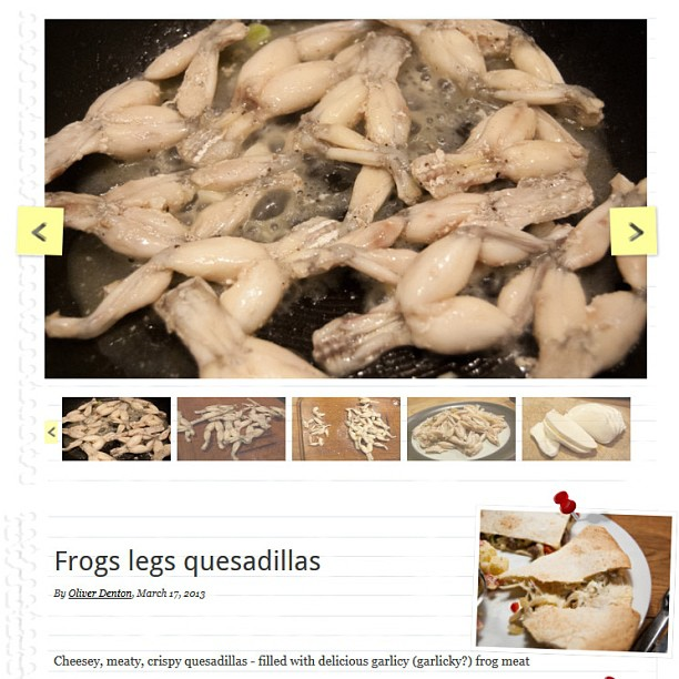Photo - Just posted on www.itsnotrocketsalad.com - Frogs legs quesadillas