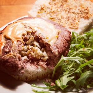 Photo – Blue cheese and mushroom stuffed megaburger AKA Meatsweats